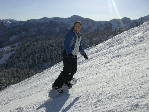 Janet Phan snowboarding