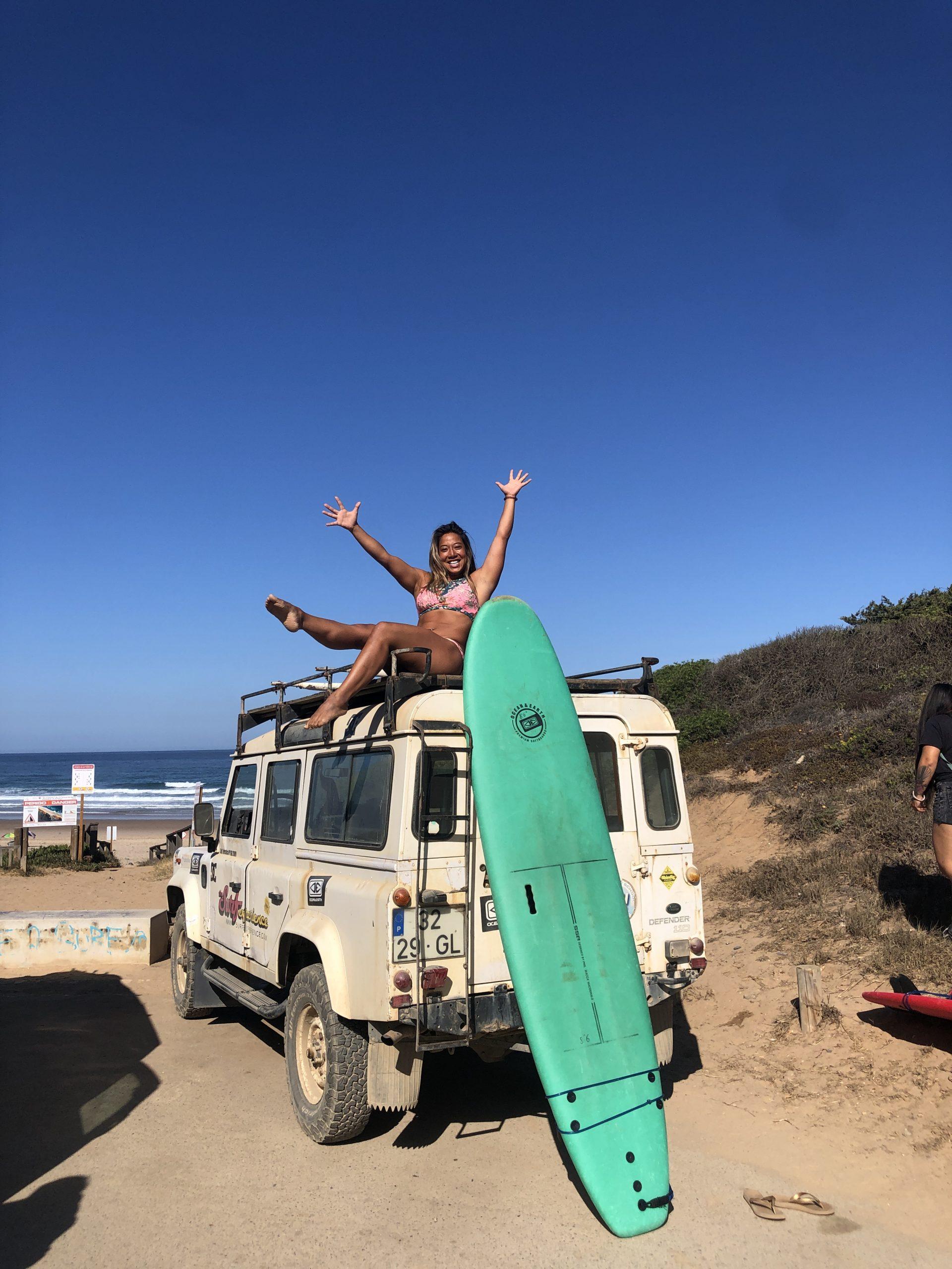 Janet Phan surfing